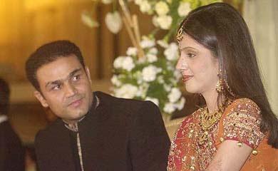 Virender Sehwag and wife Aarthi