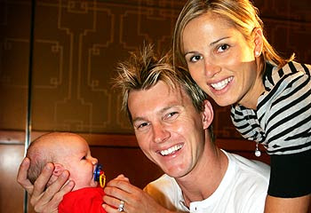 Brett Lee wife son photo