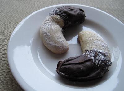 Yum Yum Chocolate Dipped Crescent Cookies