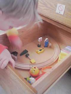 train track in a toddler's toy drawer