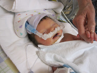 newborn Mason on cpap machine in NICU