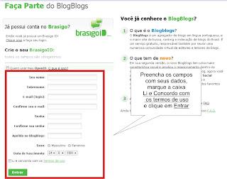 Como criar conta no Blogblogs - Cadastro
