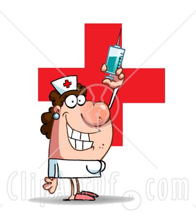Big red cross and holding up a big needle and syringe of medicine