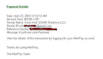 kash kwik payment proof
