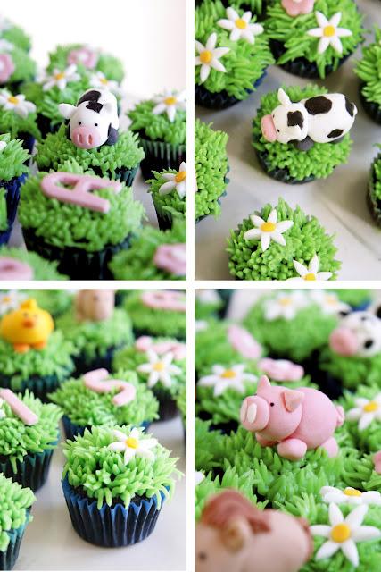 Bake a boo farm animals mini cupcakes and lighting mcqueen cake