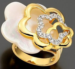 Vermeil Ring White Topaz and Mother of Pearl