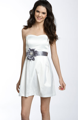 Flower Sash Strapless Dress