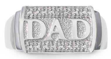 Men's Sterling Silver Diamond Accent Dad Ring