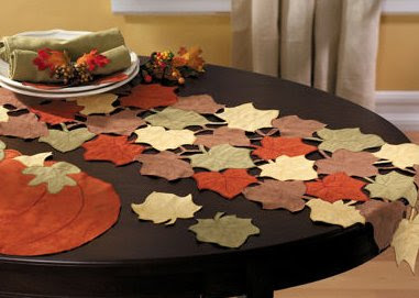 Suede-Finish Pumpkin & Leaf Table Linens