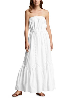 Eyelet-detailed convertible maxi dress