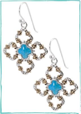 Turquoise Clover Cross Earring