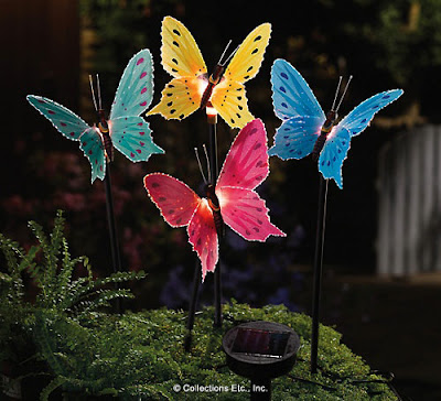 Fiber Optic Butterfly Lawn Stakes: 4 Fiber Optic Butterflies