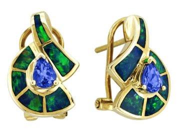 Asher - Gold Opal & Tanzanite Earrings