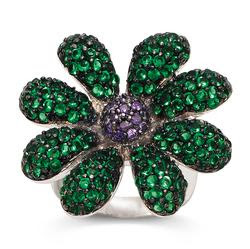 Amethyst CZ and Faux Peridot Blossom Ring