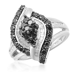 Black and White Diamond Marquis Ring in Sterling Silver