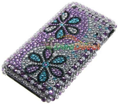 Flowers Pattern Rhinestone Bling Hard Plastic Back Case