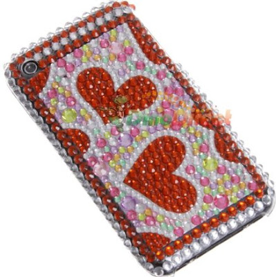 Double Heart Pattern Rhinestone Hard Plastic Back Cover