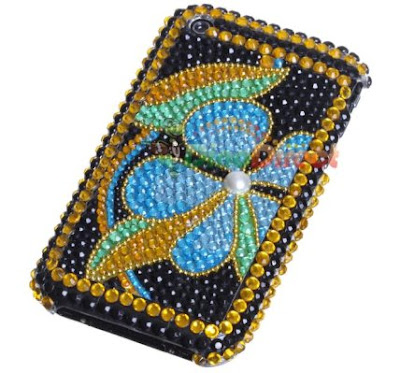 Pearl Flower Pattern Rhinestone Hard Plastic Back Case