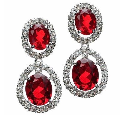 Vivian's CZ Ruby Red Fancy Drop Earrings