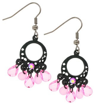 Black line pink aurora chandelier dangle earrings