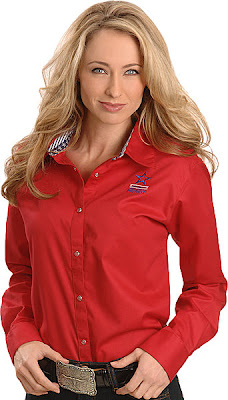 Wrangler National Patriot Solid Red Western Shirt