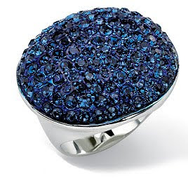 Silvertone Metal Blue Crystal Pave Ring