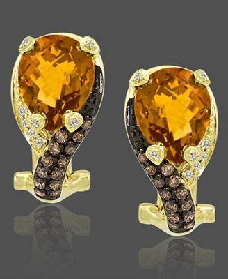Le Vian 14k Gold Earrings Citrine and Diamond