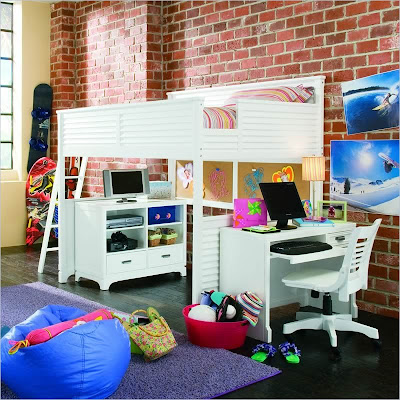 Loft Bed • White or Walnut Finish. Drawers have interchangeable