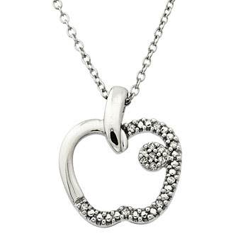 Designer Diamond Apple Pendant in White Gold