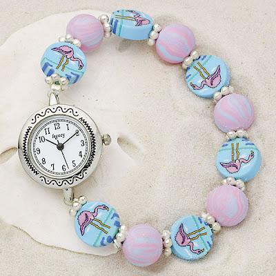 Handcrafted Clay Flamingo Stretch Watch