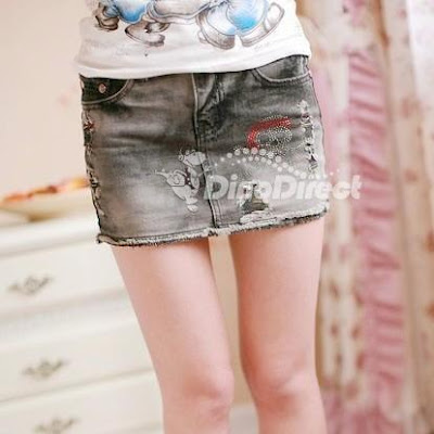 Fashion Women Skeleton Frayed Denim Mini Skirt
