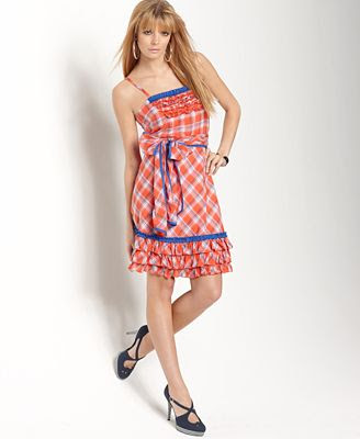 Kensie Dress, Plaid with Self Belt