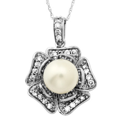 Cultured Freshwater Pearl and Diamond Flower Pendant