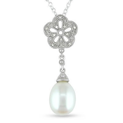 Cultured Freshwater Pearl Flower Pendant