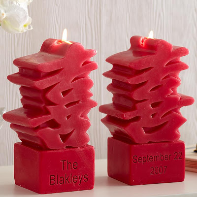 Personalized double happiness candles