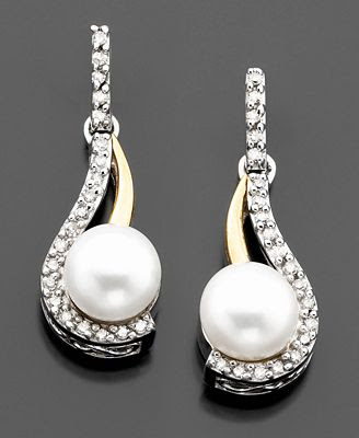 Gold & Sterling Silver Cultured Freshwater Pearl & Diamond Earrings