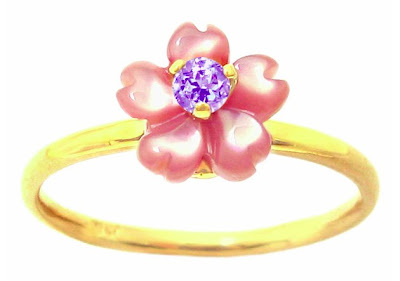 Yellow Gold Pink Mother of Pearl Exotic Blossom and Tanzanite Ring