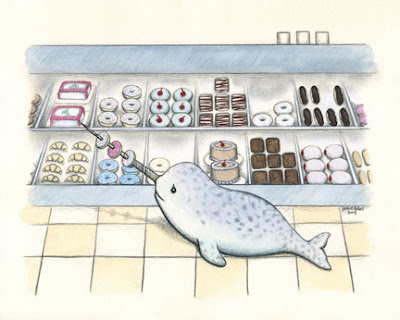 Narwhal and donuts print by Jamie Fales on sale at Etsy.