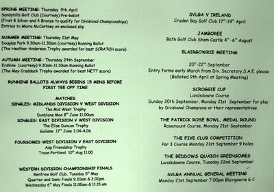 The West Vets 2009 Fixture Card Click to enlarge-