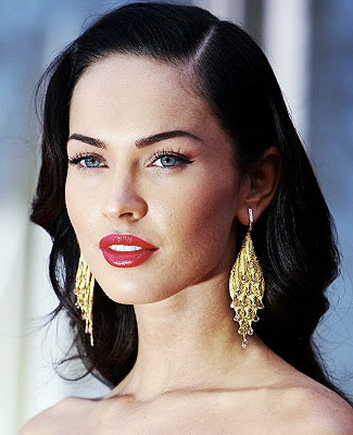 megan fox hair highlights. megan fox eye makeup.