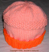 knit cap with seed stitch band