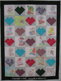 crayon quilt top with children playing