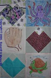 closeup of crayon quilt