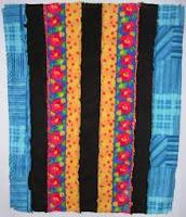 blanket made of strips of fleece