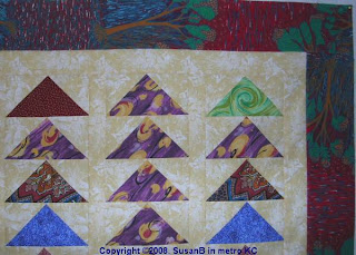 flying geese quilt top detail