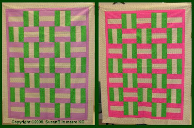 pair of bar block quilts