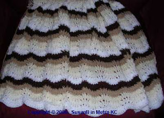 brown and white feather and fan afghan