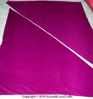 diagonally cut backing fabric