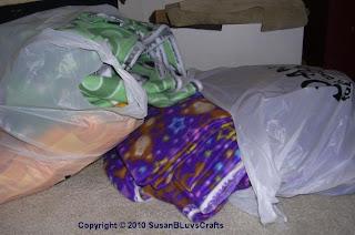 yards of fleece in bags
