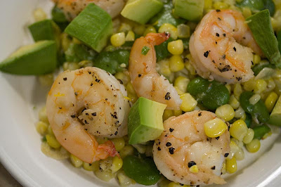 Prawns  with Corn and Fava Beans